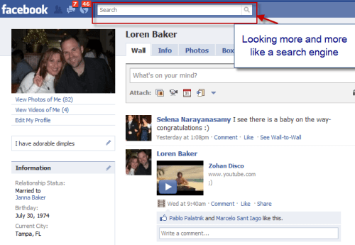 Facebook Learns From Google : Centers Search Box On