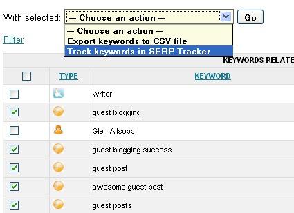 Keyword analyze: add to SERP tracker