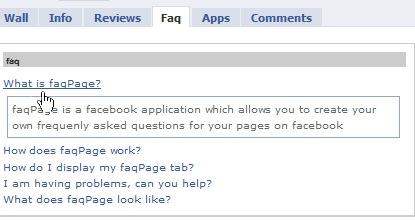 FAQ tab