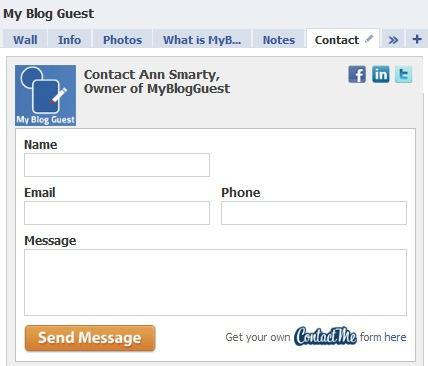 Contact me facebook application