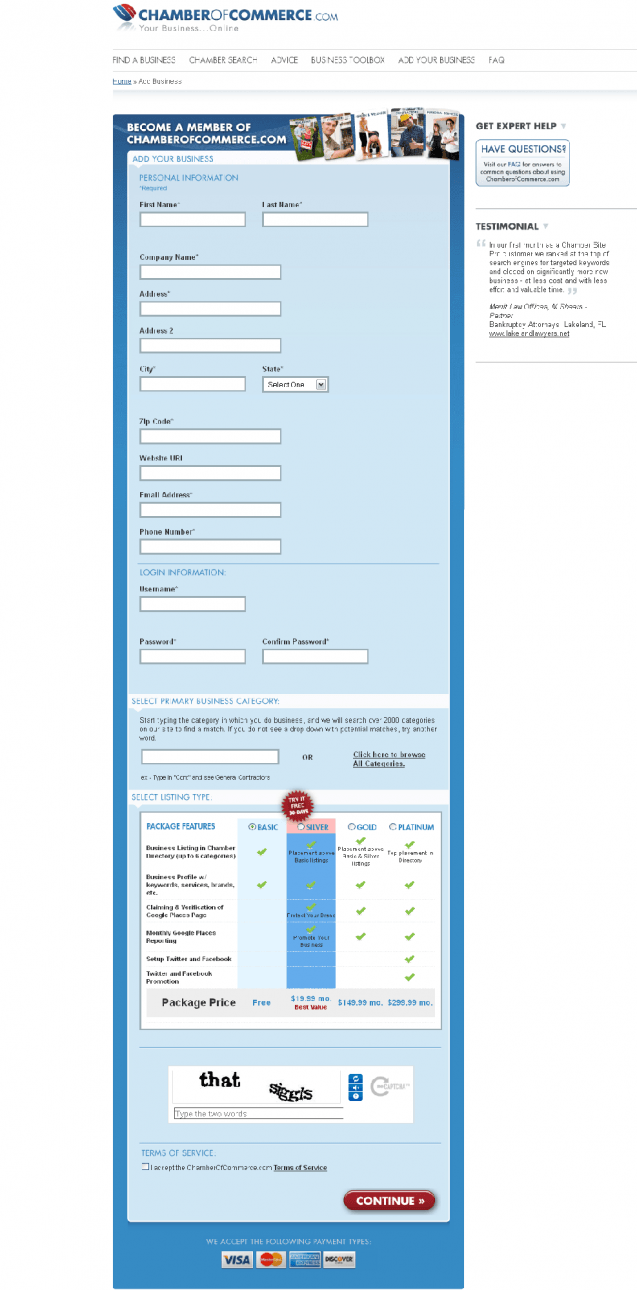 chamber of commerce form