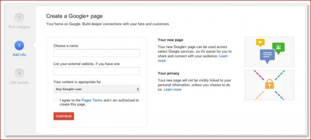 create a google plus page
