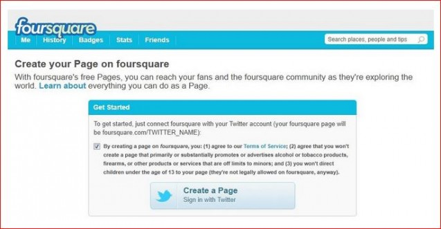 create your page on foursquare