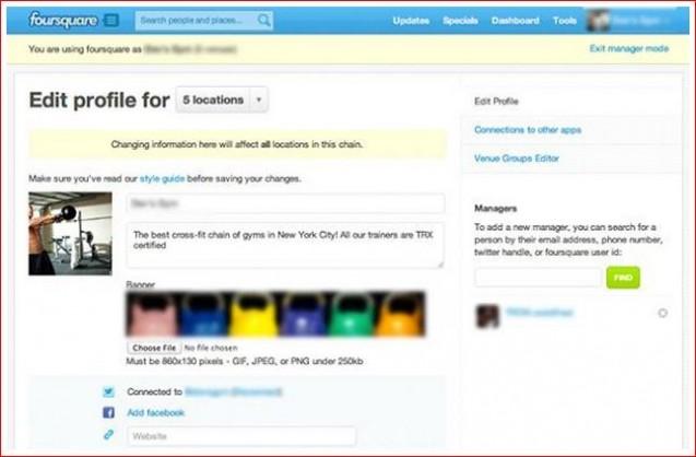 edit foursquare profile