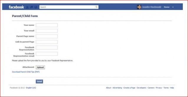 facebook parent child form