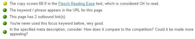 Flesch reading test in Yoast analyser