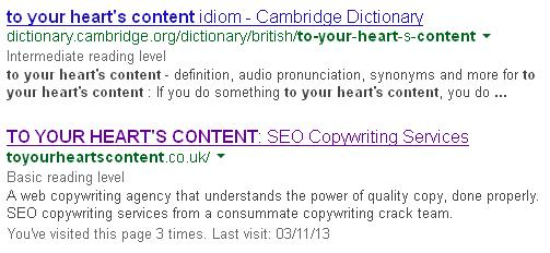 Readability displayed in SERPs