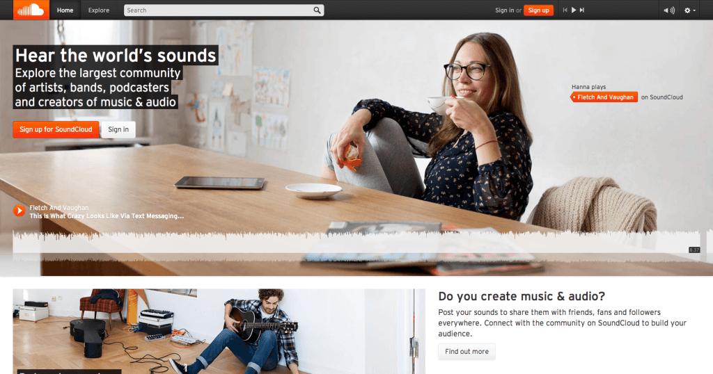 Soundcloud-Homepage