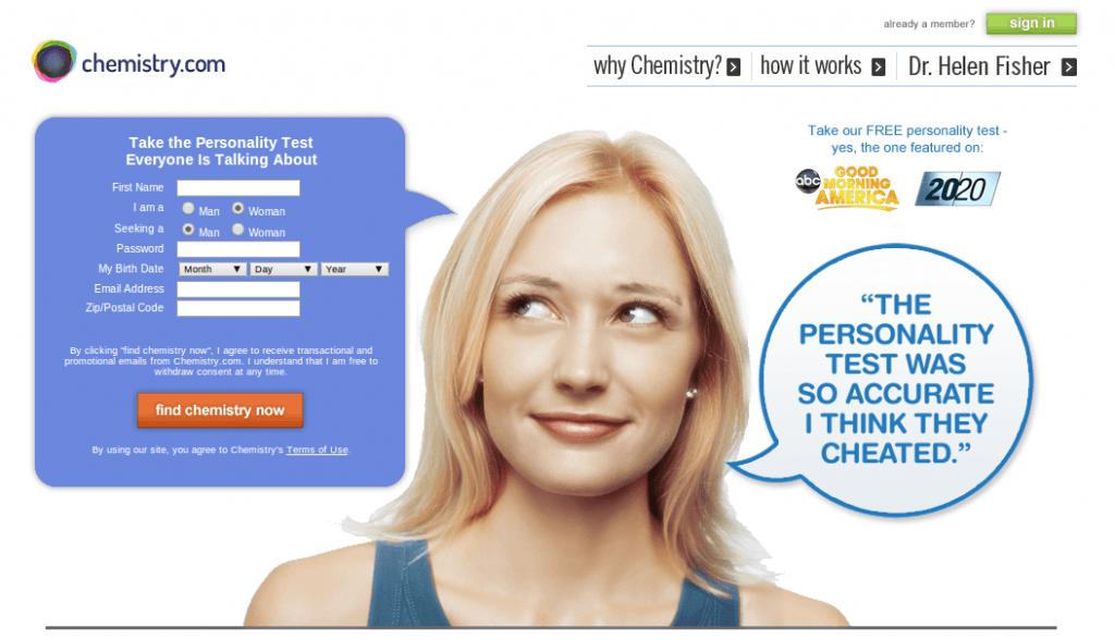 Screenshot of Chemistry.com
