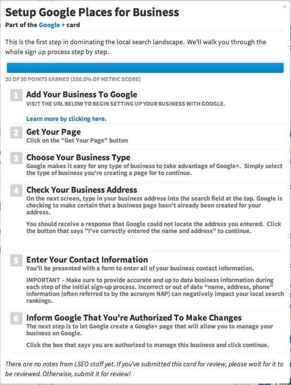 Google+ Set-up card