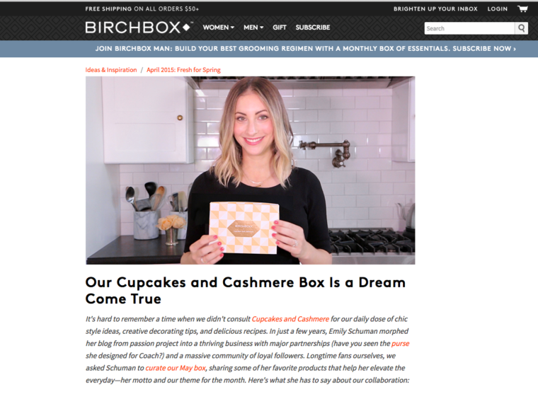 Birchbox and Cupcakes and Cashmere Collaboration