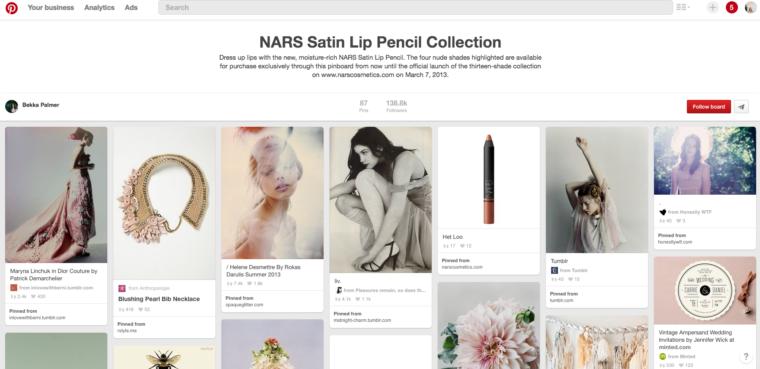 Nars partnerships with Bekka Palmer for Pinterest launch