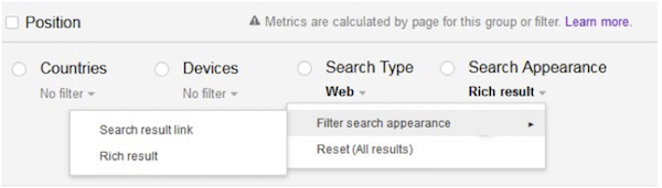 Google filter rich results