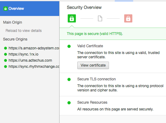Amazon Secure Connection Certificate