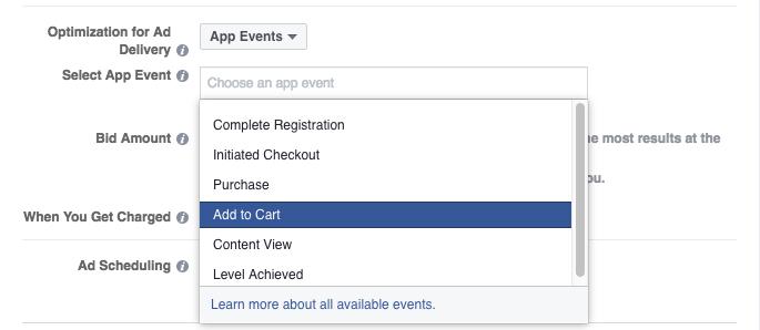 Facebook app events