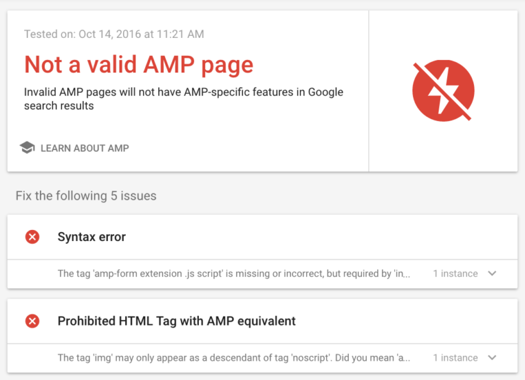 amp testing tool bad