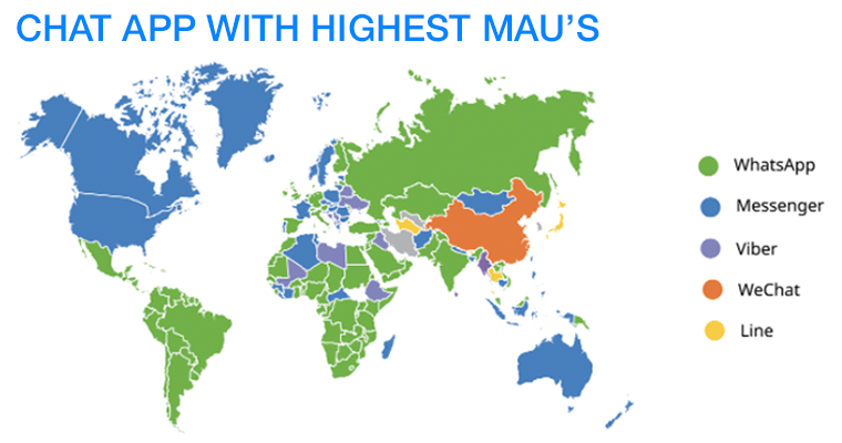 Chat app MAUs around the world