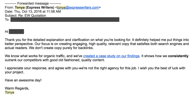content mill client response