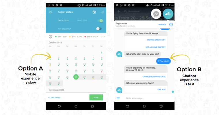 Skyscanner messenger chatbot vs mobile web