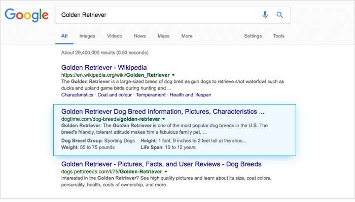 google results for Golden Retriever