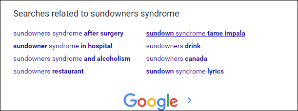 Screenshot of Google related searches
