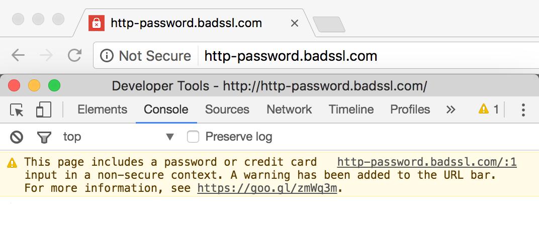 Google Chrome's not secure warning.