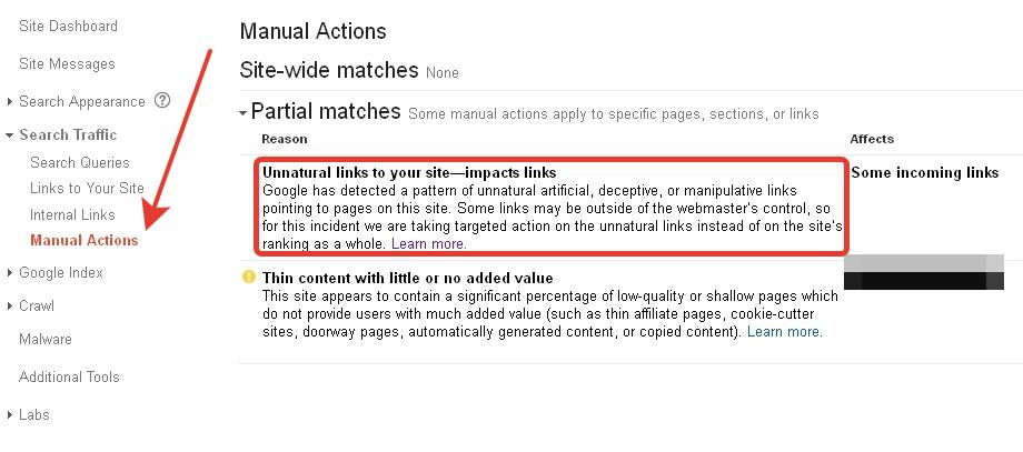 Example of manual action penalty in Google Analytics