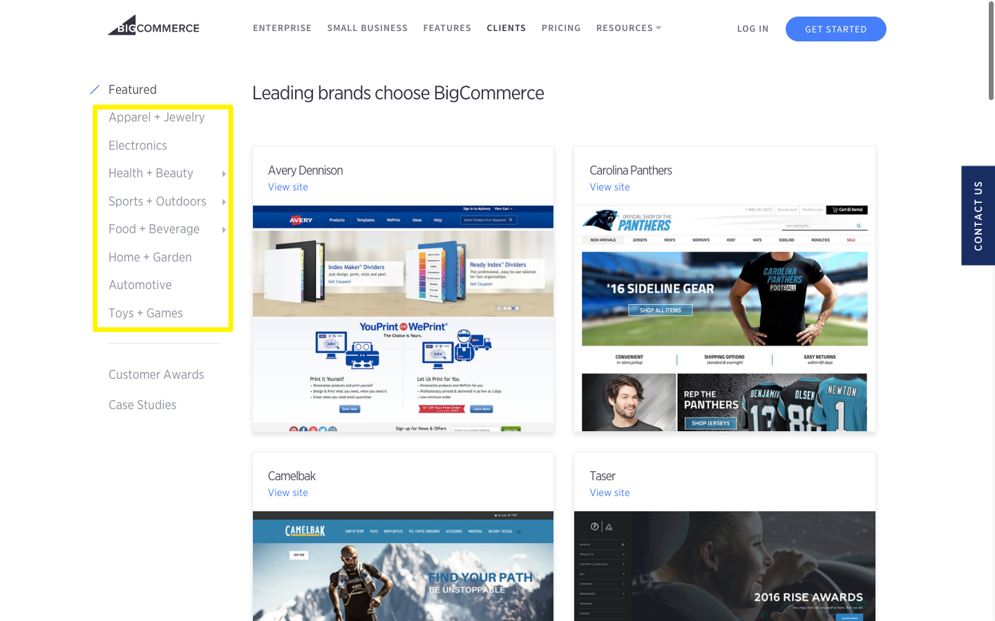 Different sections of BigCommerce e-commerce store