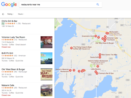 google search restaurants near me