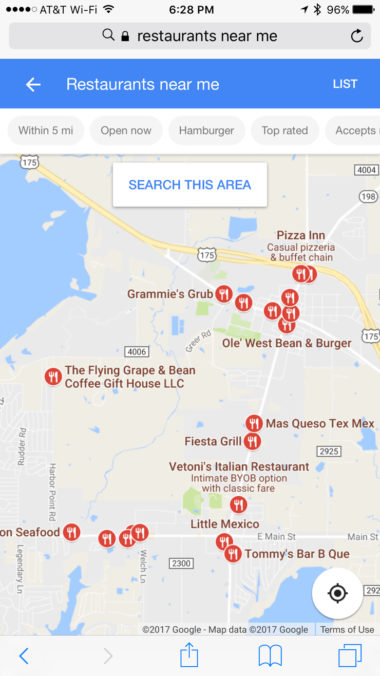 restaurants near me on iphone