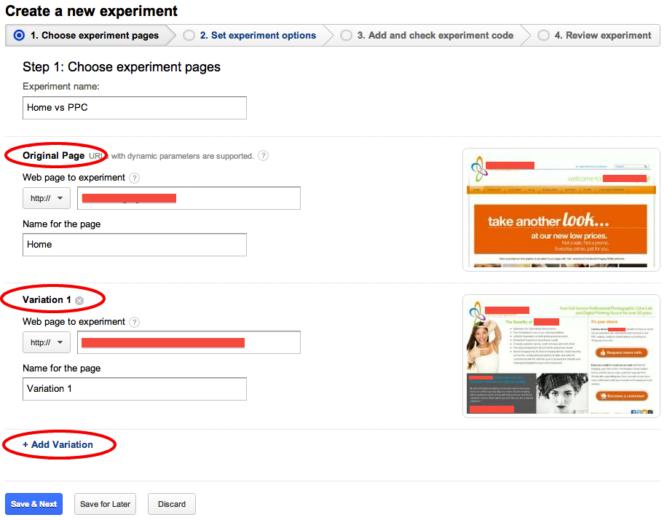 Create Analytics Experiments