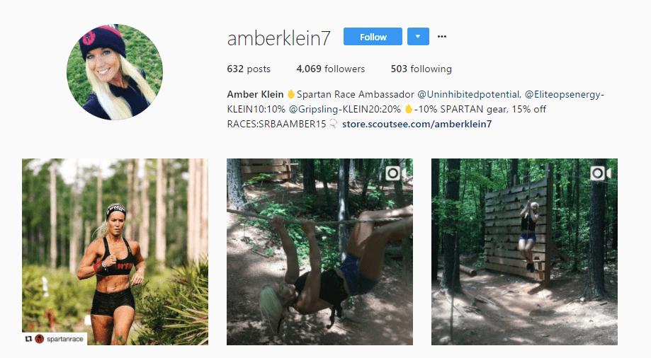 Screenshot of Amber Klein's Instagram profile
