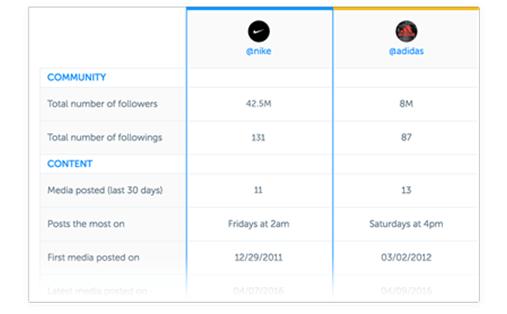 Screenshot of Iconosquare competitor analysis