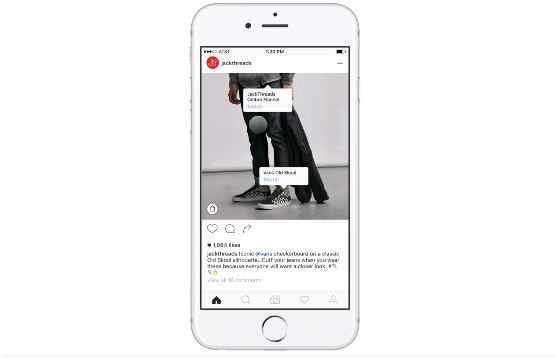Screenshot of Instagram Shopping tagged products