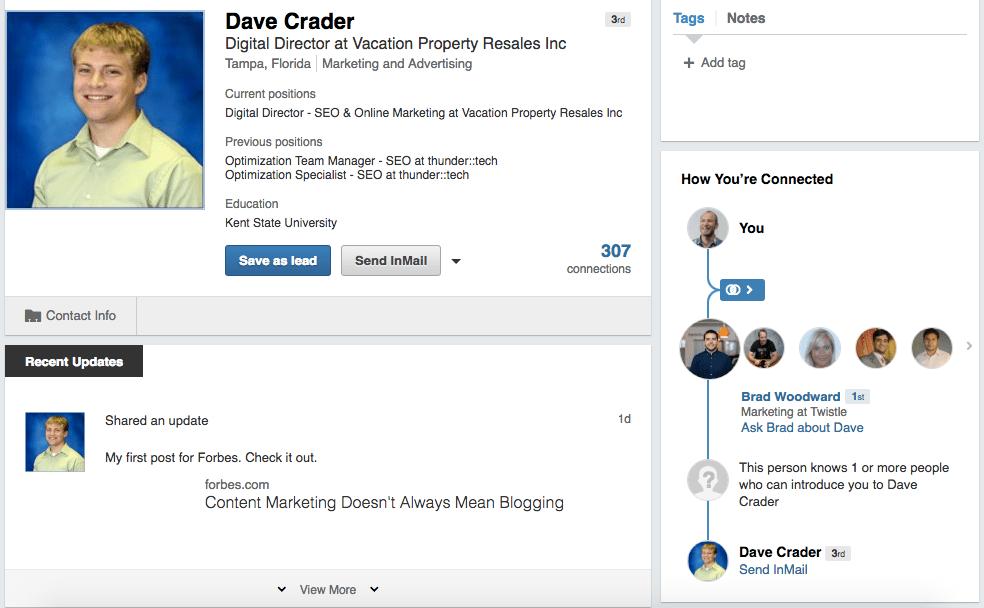 Dave Crader Sales Navigator