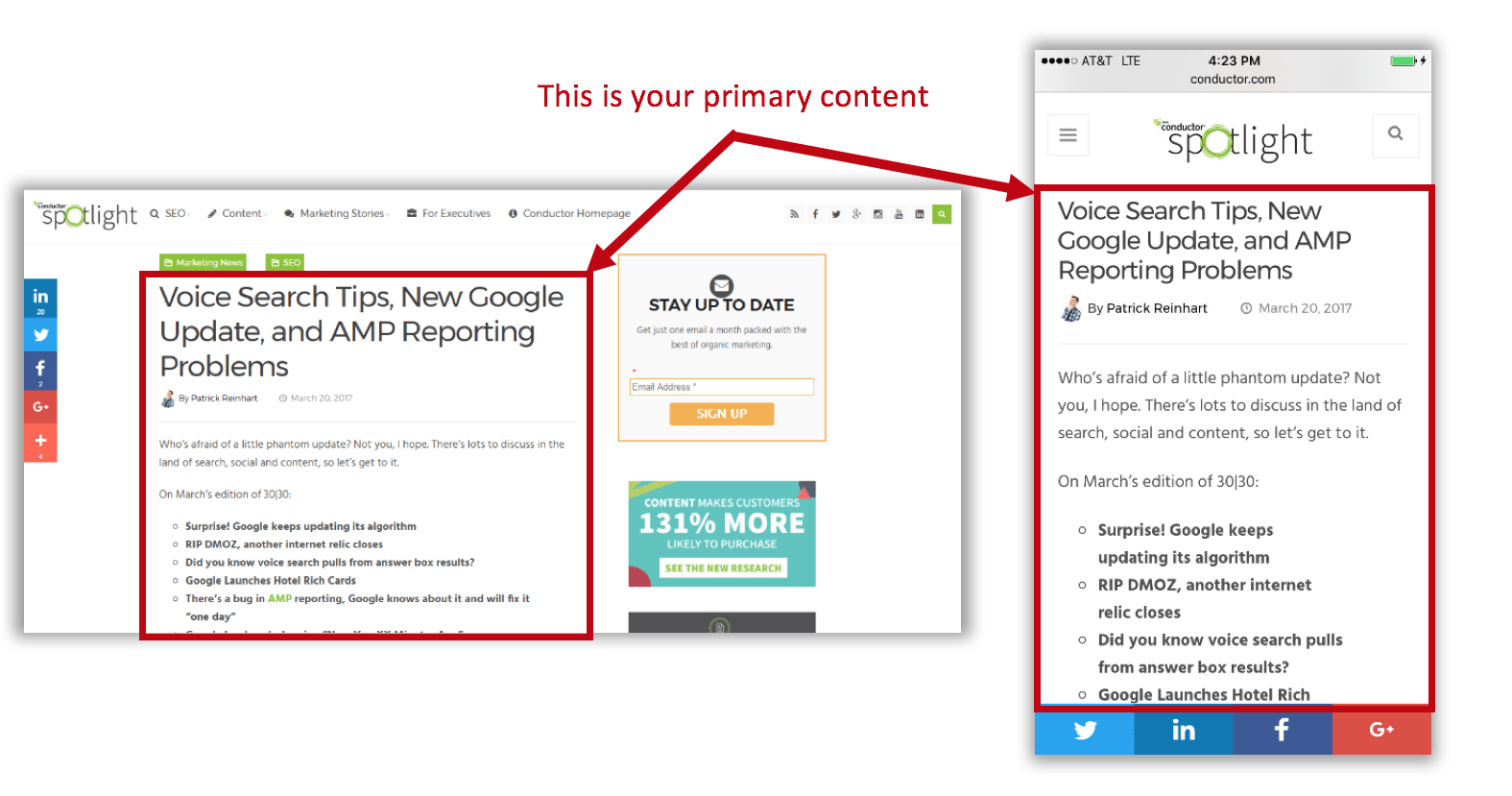 Example of a responsive site where the desktop and mobile content are the same