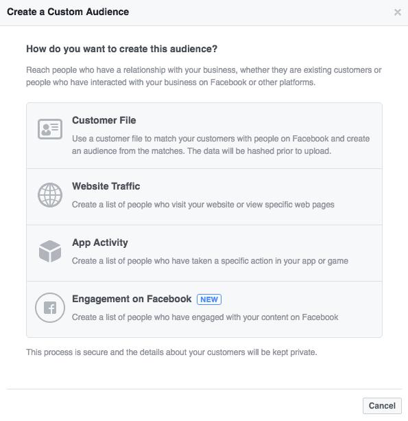 create custom Facebook Audience