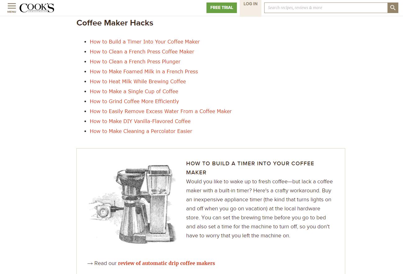 Cook's Coffee Maker Hacks