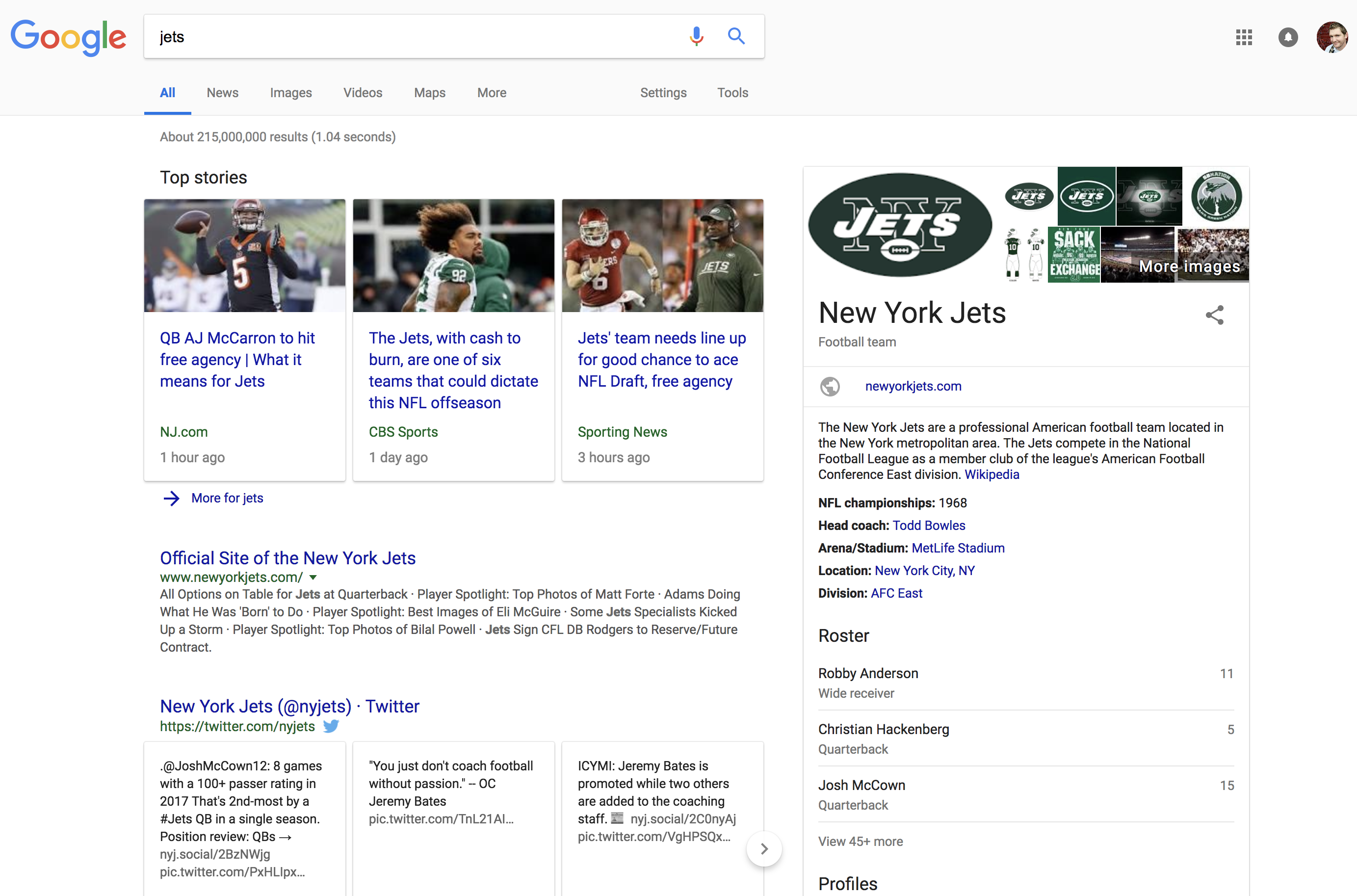 jets search query in google