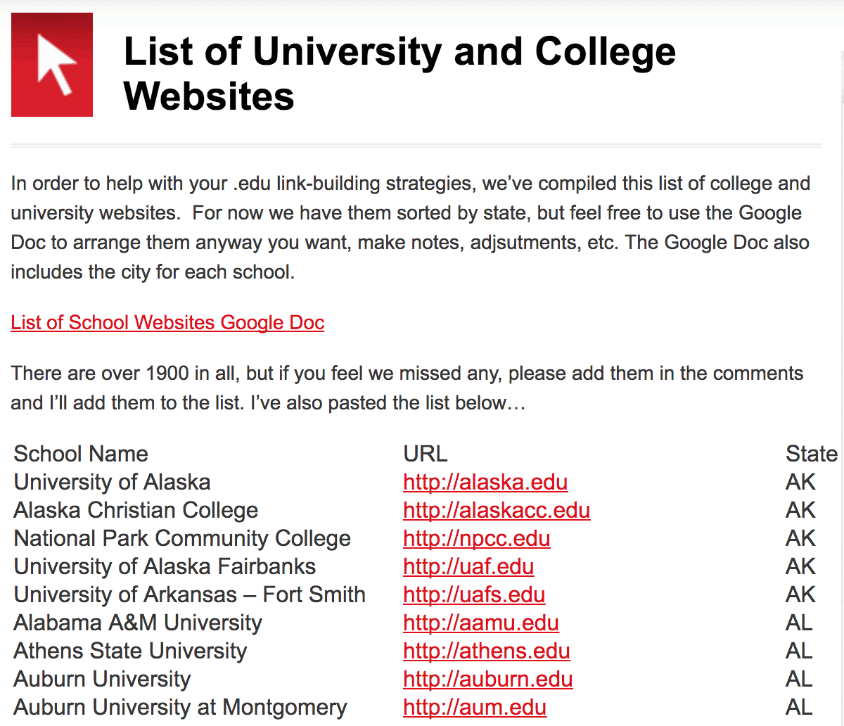 list of university and college websites