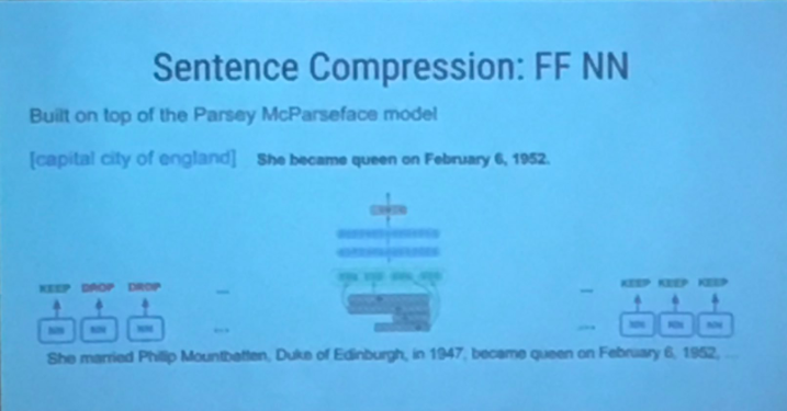 Sentence compression built on top of parsey mcparseface model
