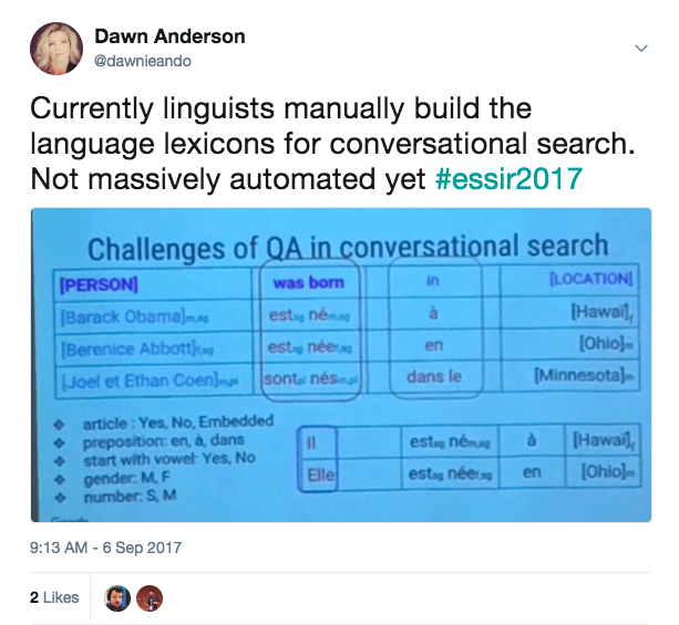 linguists manually building the language lexicons for conversational search