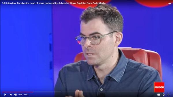 Adam Mosseri head of news feed at Facebook