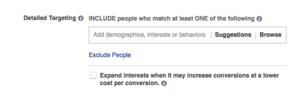 Facebook ads expanded reach option