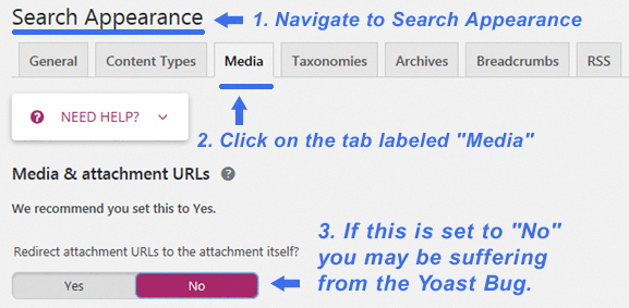 """How to check the Yoast SEO Plugin """"Search Appearance"""" tab to verify if your site may have been affected by the Yoast SEO Plugin Bug."""