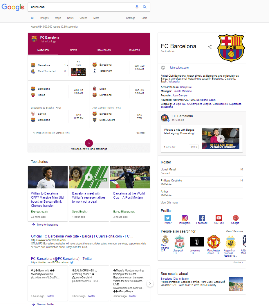 Google search results for barcelona