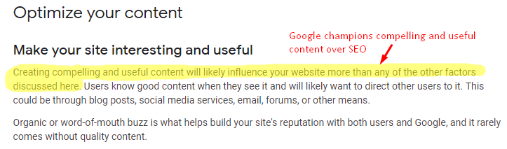 Google champions compelling and useful content over SEO