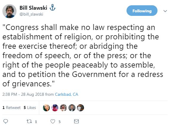 Screenshot of a tweet by Bill Slawski quoting the first amendment