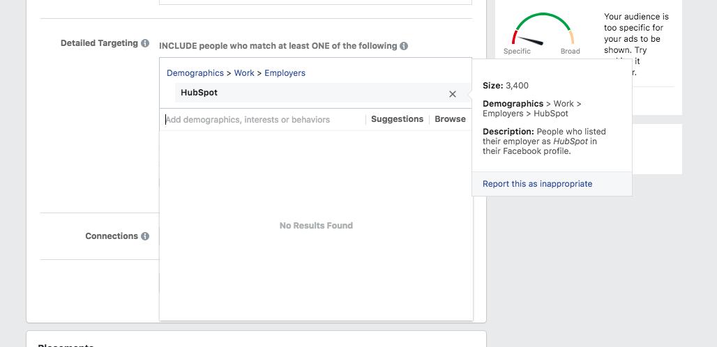 Facebook ads for Hubspot employees
