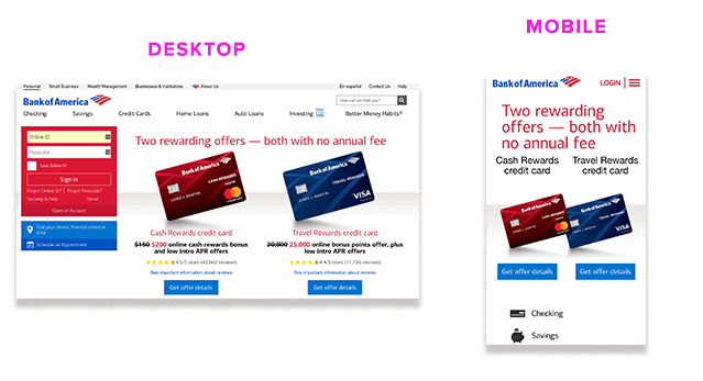 Bank of America homepage desktop and mobile